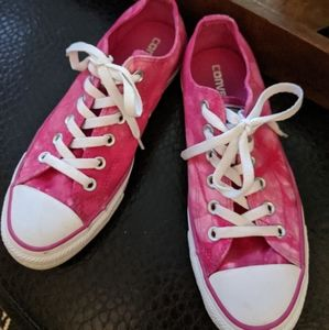 Converse pink marble lowtops Women's 8